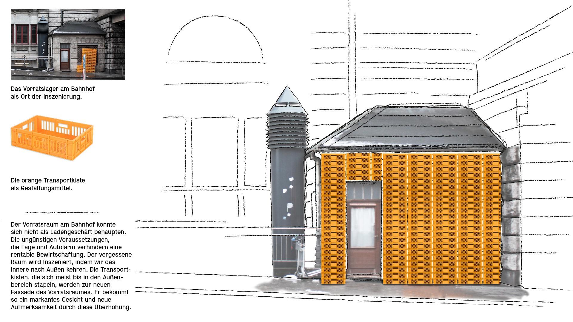 Das Vorratslager am Bahnhof als Ort der Inszenierung. Die orange Transportkiste als Gestaltungsmittel.